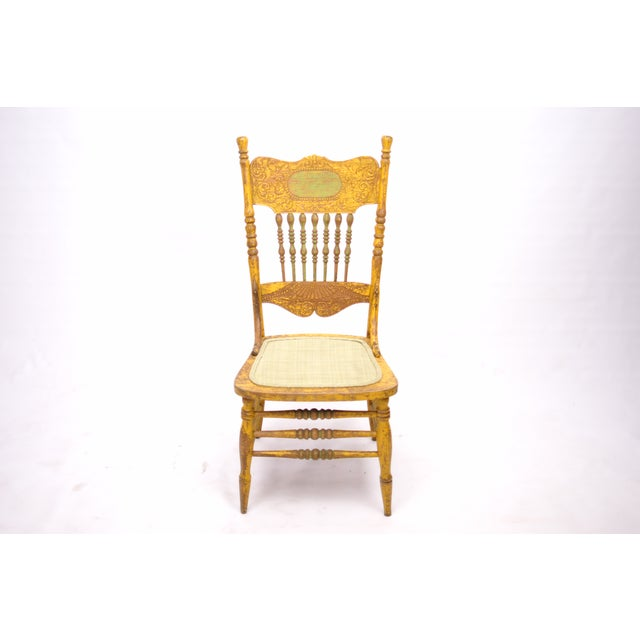 Antique Yellow Painted Chair - Image 3 of 6