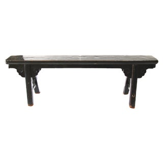 Hand Carved Chinese-Style Black Altar Bench