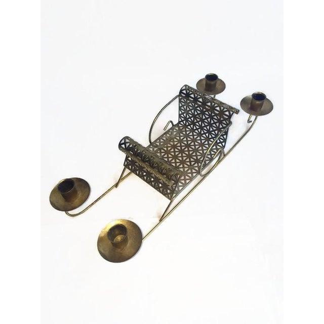 Mid-Century Pierced Metal Sleigh Candleholder - Image 6 of 8