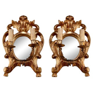 19th Century Carved Gilt Wood 2-Light Mirror Back Sconces - A Pair