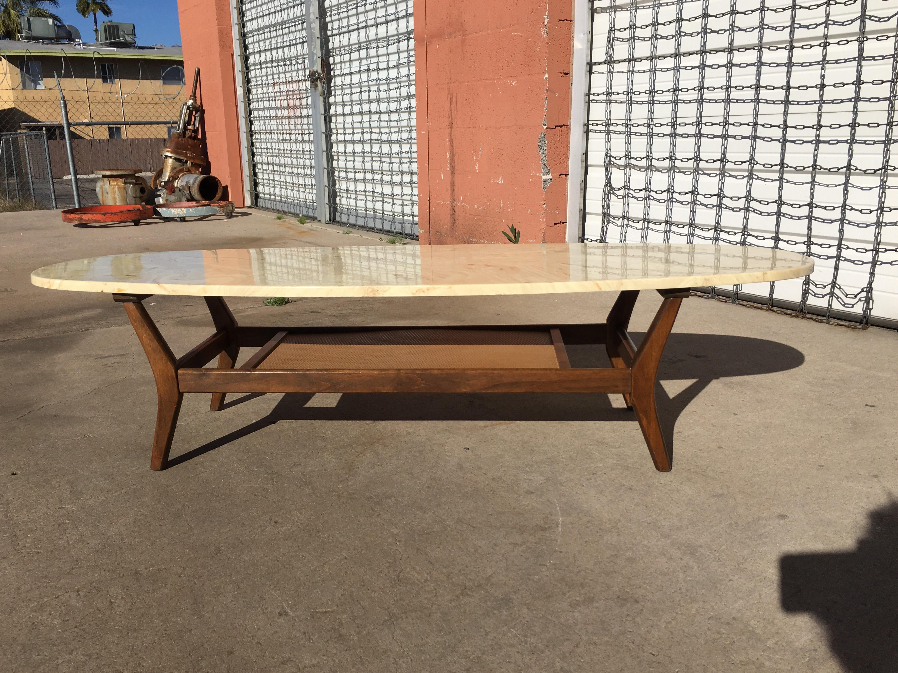 Mid Century Modern Marble Surfboard Coffee Table   Image 3 Of 7