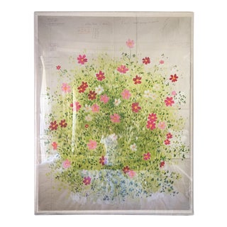 Lucite Framed Floral Painting on Parchment & Linen