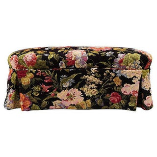 Mahogany & Floral Upholstered Bench