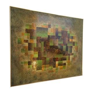 Mid Century Geometric Oil Painting by Van Gelderen