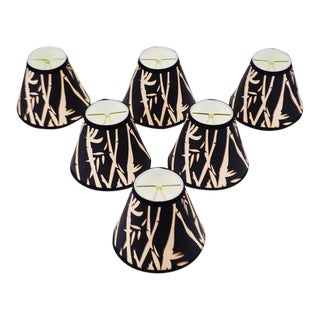 Set of 6 NOS Tapered Chandelier Lamp Shades Black and Tan Bamboo Design