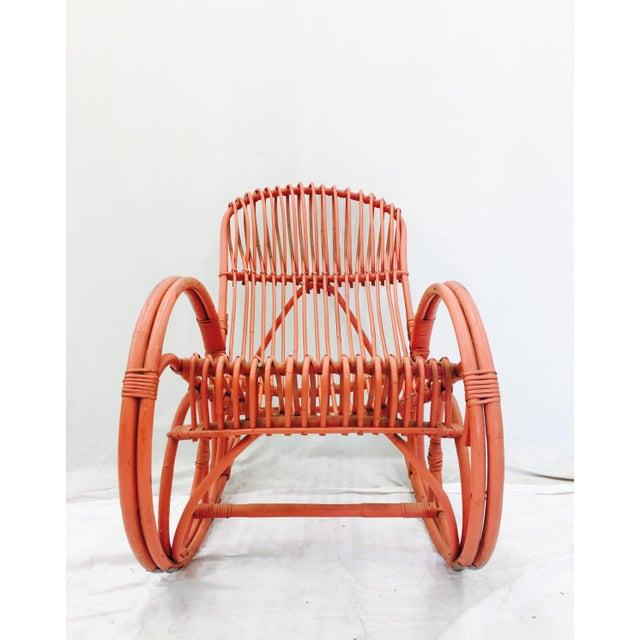 Vintage F. Albini Orange Rattan Rocking Chair - Image 5 of 6