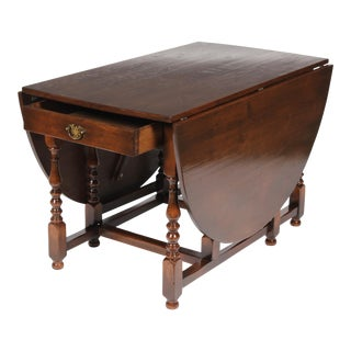 1920s English Jacobean-Style Gateleg Table