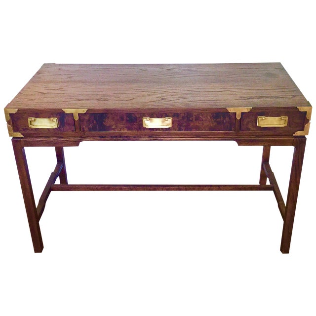 Asian Style Burl Drawers Campaign Desk - Image 1 of 8