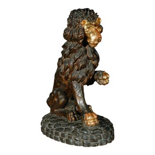18th c., Hand-Carved Lion