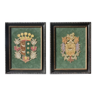 Vintage Handmade Fabric Art Coat of Arms - A Pair