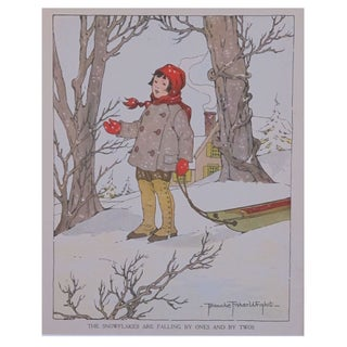 Vintage Matted British Children's Print of Sled