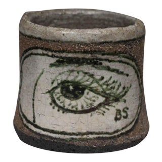 Midcentury Round Ceramic Stoneware Mug