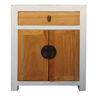 Chinese Nightstand in Off-White