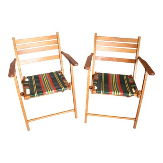 Vintage Mid Century Wood Folding Patio Chairs - A Pair