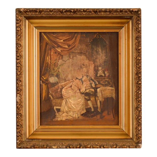 French 18th Century Interior Court Scene Painting Chairish