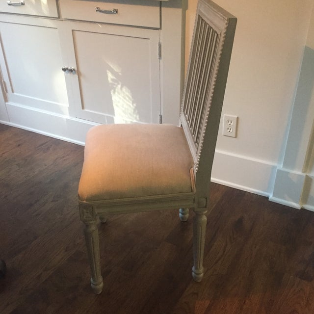 Shabby Chic Gray Wood Dining Chairs - Set of 4 - Image 5 of 6
