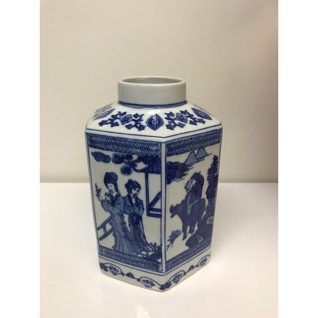 Chinoiserie Blue and White Hex Ginger Jar - Image 2 of 3