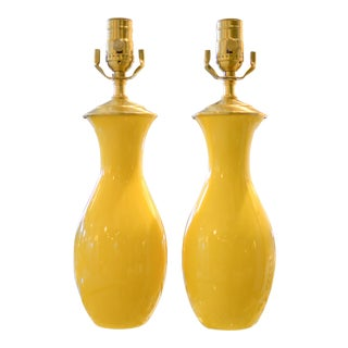 Yellow Glazed Vase Table Lamps - A Pair
