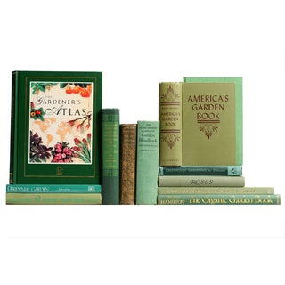 Vintage Green Gardening Books - Set of 12