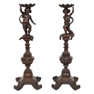 Antique Italian Carved Puttis on Pedestals - Pair