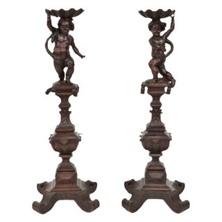 Antique Italian Carved Puttis on Pedestals - Pair