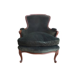 Vintage French Bergere Chair in Green Velvet