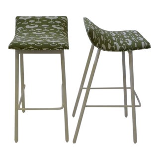 Pair of 1950s MCM Curved Seat Bar Stools