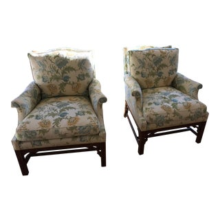 Minton Spidell Chinese Chippendale Lounge Chairs - a Pair