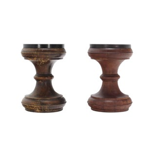 Pair of Earlier Turned Heavy Solid Walnut Stools