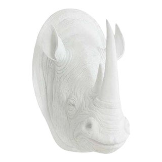 Wall Charmers White On White Faux Taxidermy Rhino Mount