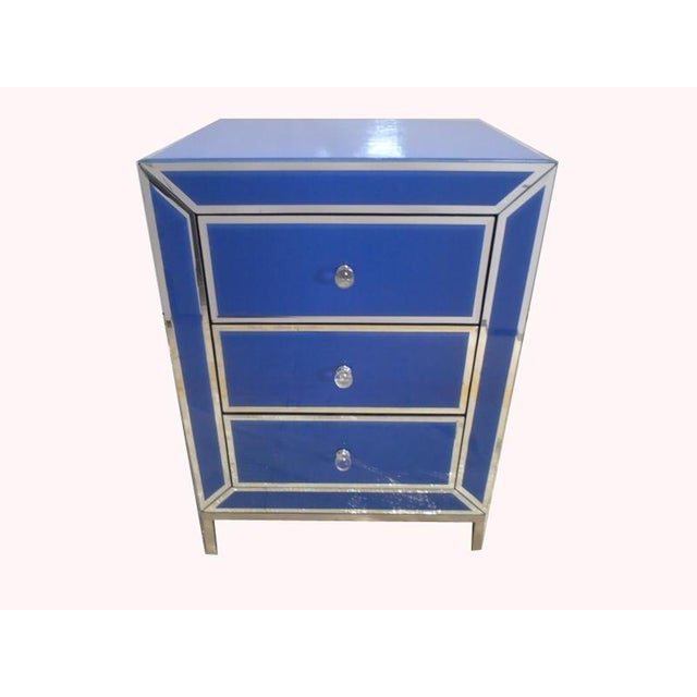 Image of Contemporary Blue Bedside End Table