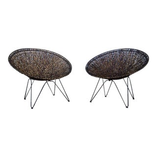 Vintage Woven Iron Hoop Chairs - A Pair