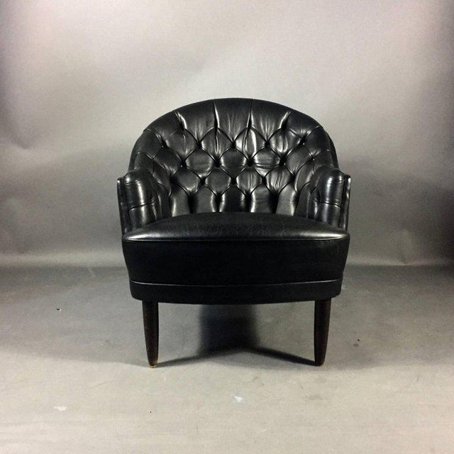 Astounding Deep Tufted Black Leather Easy Chair Late 1960S Inzonedesignstudio Interior Chair Design Inzonedesignstudiocom