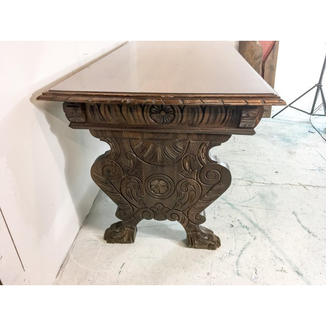 1920's Carved Walnut Library Table / Desk - Image 6 of 7