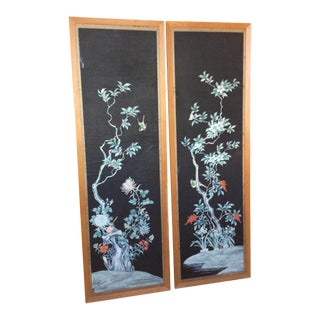 Hand Painted Chinese Wallpaper Panels - A Pair