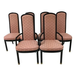 Henredon Black Lacquer Dining Chairs - Set of 6