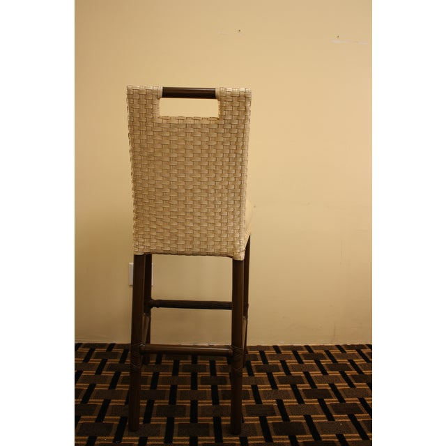McGuire Thomas Pheasant Woven Leather Bar Stool - Image 4 of 7