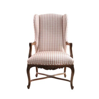 Plaid Walnut Wingback Chair