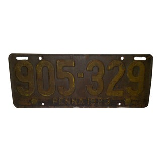Vintage Automobile License Plate - Pennsylvania - 1923