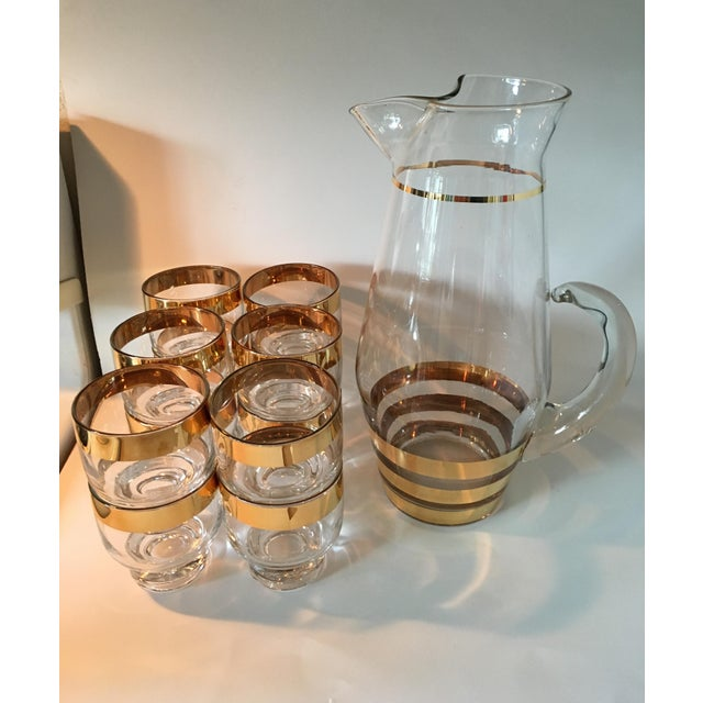 Image of Hollywood Regency Glass Pitcher and 12 Glasses