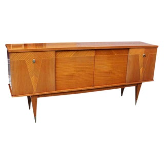 "1940s Vintage French Art Deco/Art Modern Flame Mahogany ""V"" Buffet or Sideboard"