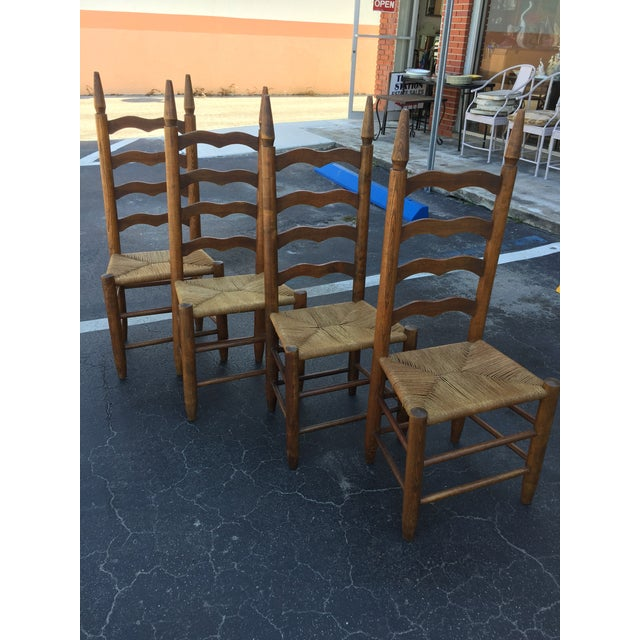 Primitive Lodge Ladder Back Chairs- Set of 4 - Image 2 of 5