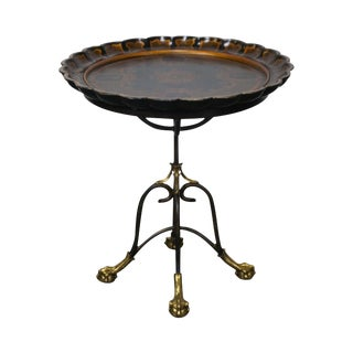 LaBarge Regency Style Hand Painted Pedestal Side Table