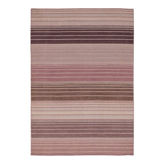 Turkish Light Blush & Lavender Striped Modern Kilim Rug - 4′ × 6′