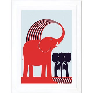 Red Elephant by Greg Mably White Framed Print