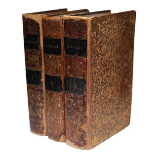 19th c. French Leather Bound Books c. 1823-Set of 3