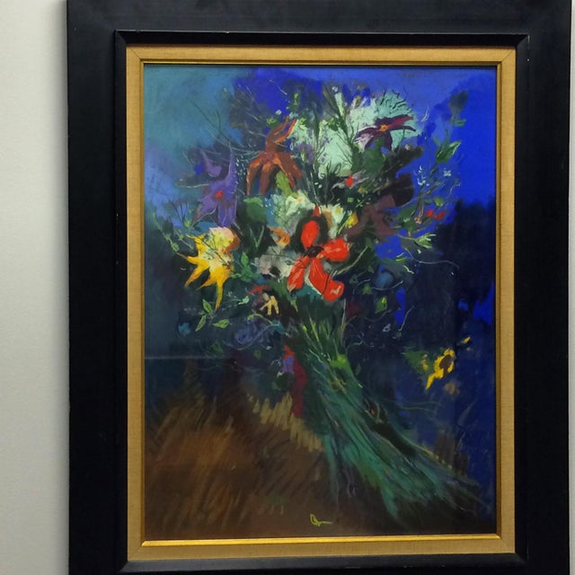 Bouquet Framed Pastel Painting by Leon Kelly - Image 8 of 8