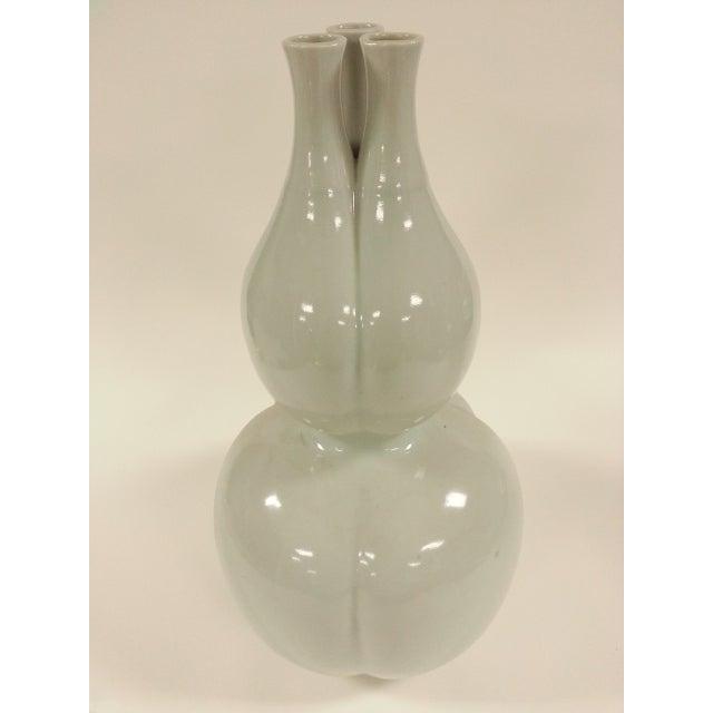 Off White Glazed Gourd Vases - a Pair - Image 6 of 6