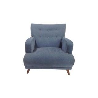 Mid Century Modern Blue Chenille Club Chair