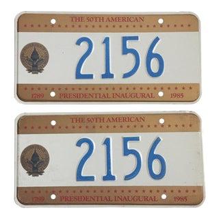 Presidential Inaugural License Plates 1985 - A Pair